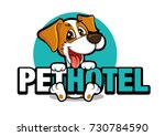 Stock vector cute dog holding a big signboard pet hotel vector illustration logo 730784590