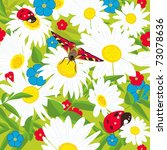 chamomiles. floral background . ... | Shutterstock .eps vector #73078636