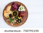 meat and cheese plate antipasti ... | Shutterstock . vector #730792150
