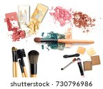brush and make up set powder on ... | Shutterstock . vector #730796986