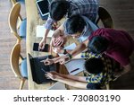 young people teamwork after... | Shutterstock . vector #730803190
