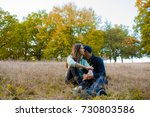 young couple in loved on a... | Shutterstock . vector #730803586