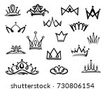 vector crown logo. hand drawn... | Shutterstock .eps vector #730806154