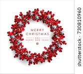 christmas wreath made of red... | Shutterstock .eps vector #730810960