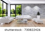modern bright interiors. 3d... | Shutterstock . vector #730822426