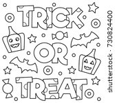 trick or treat. coloring page.... | Shutterstock .eps vector #730824400