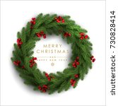 christmas wreath made of... | Shutterstock .eps vector #730828414