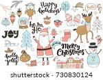 set of new year and christmas... | Shutterstock .eps vector #730830124
