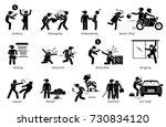 crime and criminal. pictogram... | Shutterstock . vector #730834120