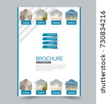 blue flyer design template with ... | Shutterstock .eps vector #730834216