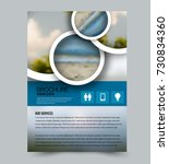 blue flyer design template with ... | Shutterstock .eps vector #730834360