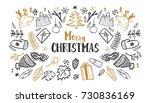 christmas set  hand drawn style ... | Shutterstock .eps vector #730836169