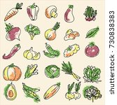 a set of vegetables  colored... | Shutterstock .eps vector #730838383