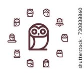 vector round frame with owls... | Shutterstock .eps vector #730838860