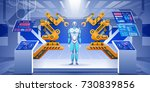 modern factory or laboratory...   Shutterstock .eps vector #730839856