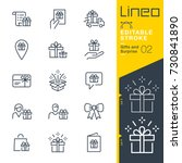 lineo editable stroke   gifts... | Shutterstock .eps vector #730841890