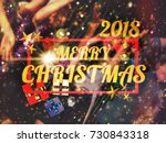 christmas party friends at... | Shutterstock . vector #730843318