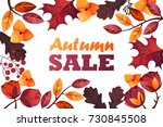 banner for autumn sale. foliage.... | Shutterstock .eps vector #730845508