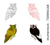 owl silhouette drawing in four... | Shutterstock .eps vector #730846168