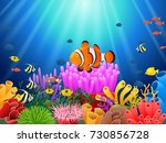 clown fish under the sea.  | Shutterstock . vector #730856728