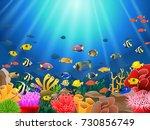 corals with underwater view... | Shutterstock .eps vector #730856749