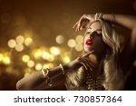 fashion model beauty jewelry... | Shutterstock . vector #730857364