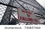 beware of falling ice signage. | Shutterstock . vector #730857460