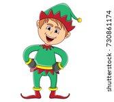 christmas elf cartoon vector... | Shutterstock .eps vector #730861174