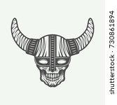 vintage skull in viking helm in ... | Shutterstock .eps vector #730861894
