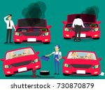 man standing near broken car... | Shutterstock .eps vector #730870879