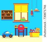 baby room interior with window  ... | Shutterstock .eps vector #730871746