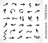 hand drawn arrows  vector set | Shutterstock .eps vector #730876366