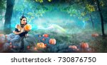 halloween witch with a carved... | Shutterstock . vector #730876750