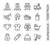 baby shower line icon set.... | Shutterstock .eps vector #730879624