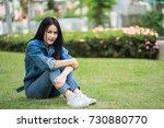 teen girl asian sitting... | Shutterstock . vector #730880770
