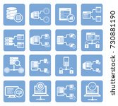 database server icon set  vector | Shutterstock .eps vector #730881190