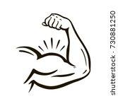 power hand  muscular arm  bicep.... | Shutterstock .eps vector #730881250