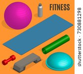 set of sports equipment items.... | Shutterstock .eps vector #730881298