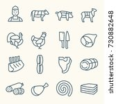 butchery line icon set | Shutterstock .eps vector #730882648