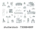 lisbon portugal city doodle...   Shutterstock . vector #730884889