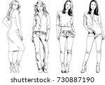 set of vector drawings on the... | Shutterstock .eps vector #730887190