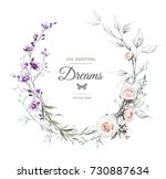 card with oil painting ... | Shutterstock . vector #730887634