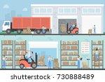 warehouse building set....   Shutterstock .eps vector #730888489