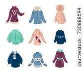 winter clothes set. females... | Shutterstock .eps vector #730888594