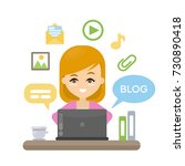 blogging concept illustration.... | Shutterstock .eps vector #730890418