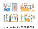 inside maternity shop set.... | Shutterstock .eps vector #730890634