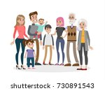 big happy family on white... | Shutterstock .eps vector #730891543
