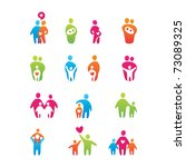 set of icons   kids and parents | Shutterstock .eps vector #73089325