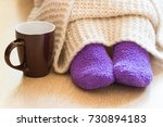 cold concept with teacup near... | Shutterstock . vector #730894183