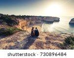 best friends travelers sitting...   Shutterstock . vector #730896484
